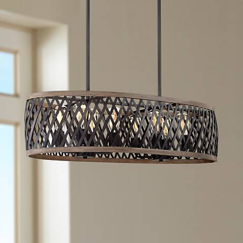 "Aruba 36"" Wide Woodgrain and Bronze 8-Light Island Pendant"