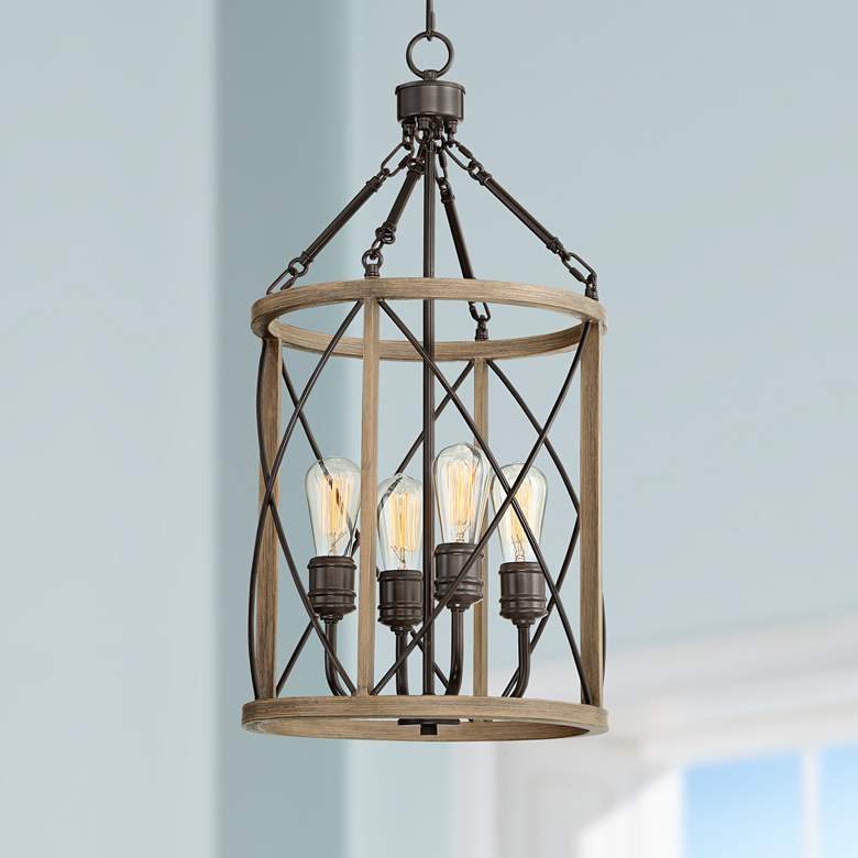"Hansen 14""W Bronze and Woodgrain 4-Light LED Entry Pendant"