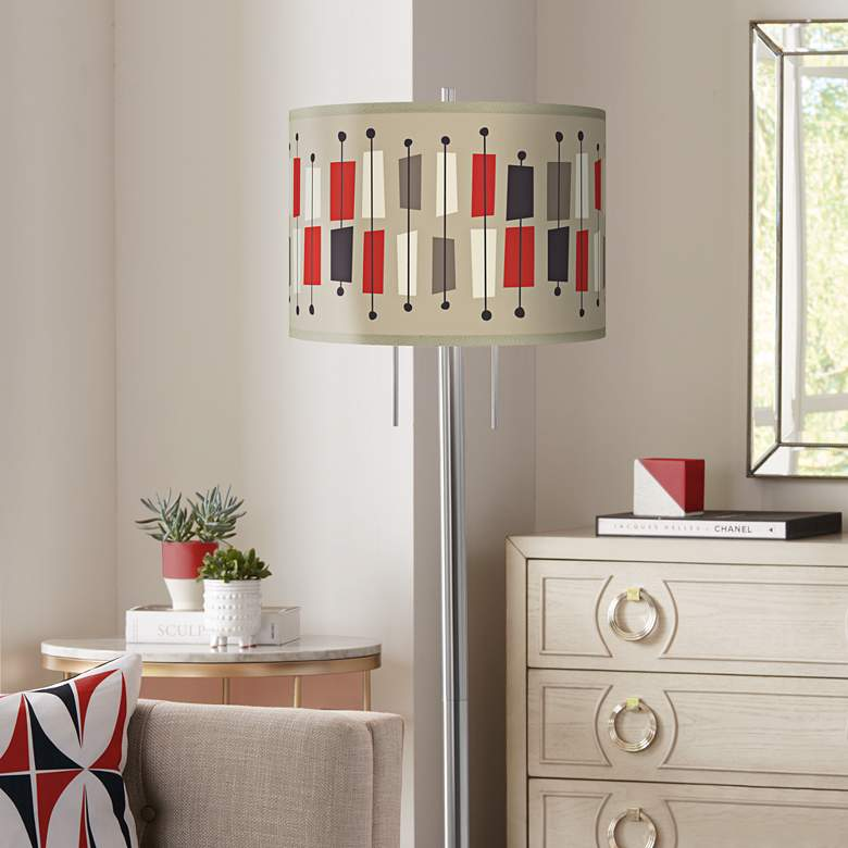 Bounce Giclee Brushed Nickel Garth Floor Lamp