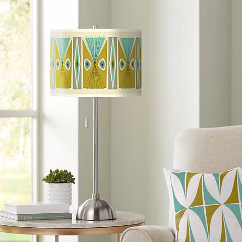 Vernaculis III Giclee Brushed Steel Table Lamp