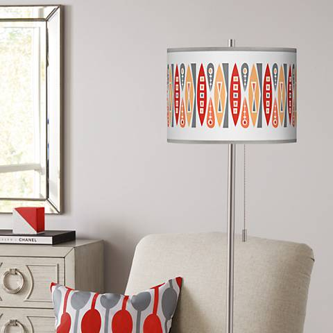 Vernaculis VI Brushed Nickel Pull Chain Floor Lamp