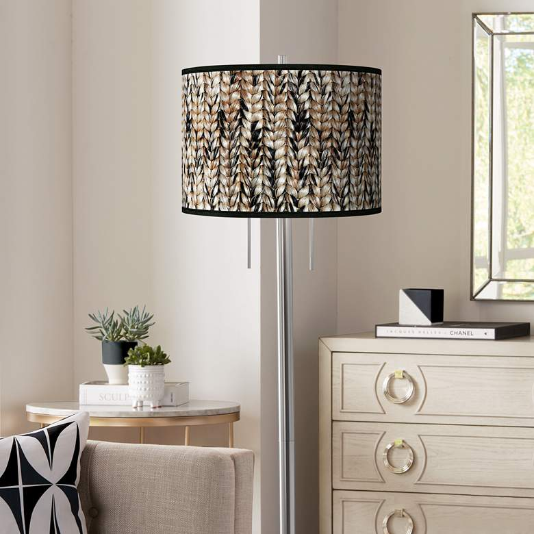 Braided Jute Giclee Brushed Nickel Garth Floor Lamp
