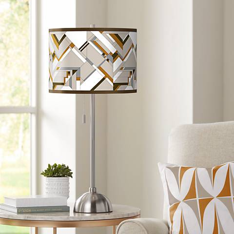 Craftsman Mosaic Giclee Brushed Steel Table Lamp