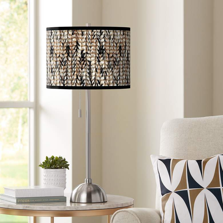 Braided Jute Giclee Brushed Nickel Table Lamp