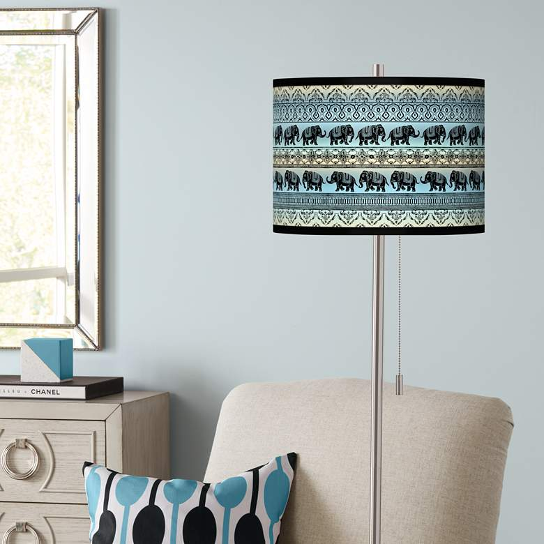 Elephant March Brushed Nickel Pull Chain Floor Lamp