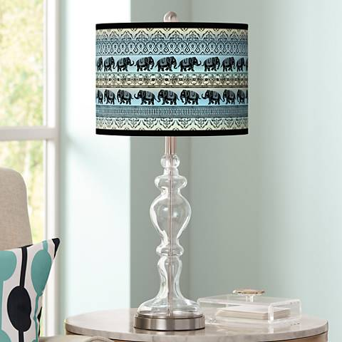 Elephant March Giclee Apothecary Clear Glass Table Lamp