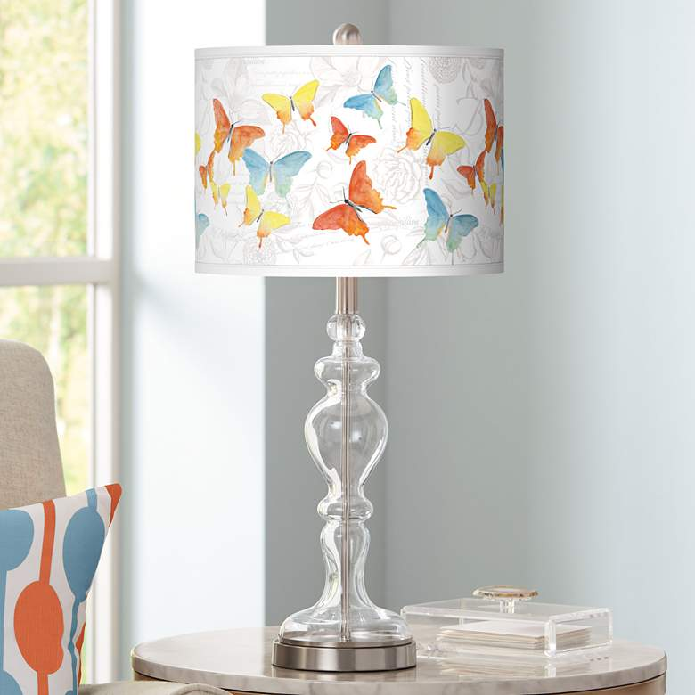 Pastel Butterflies Giclee Apothecary Clear Glass Table Lamp