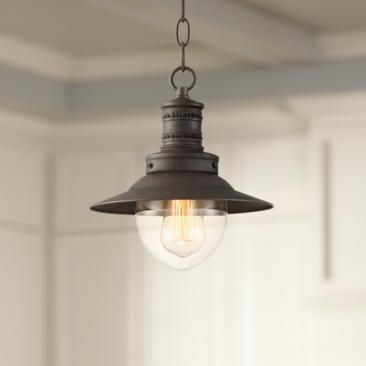 "Spindrift 9 1/2"" Wide Bronze and Clear Glass Mini Pendant"