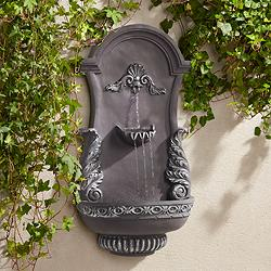 "Tivoli Grey Ornate 33"" High Wall Fountain"