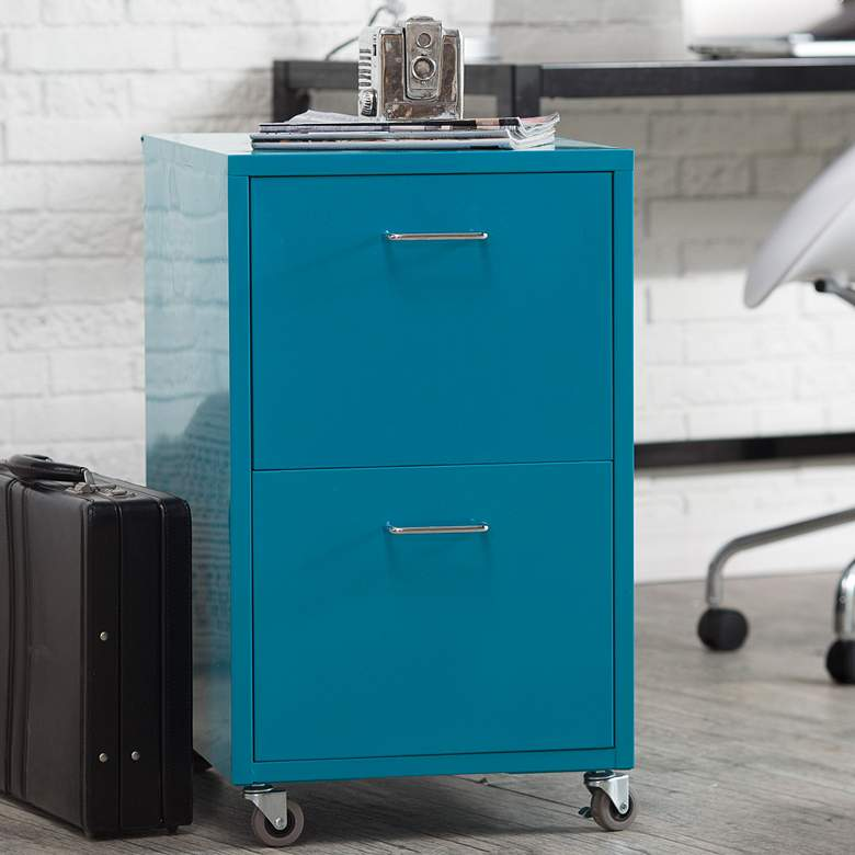 "Eastbourne 19 1/4"" Modern Teal Steel 2-Drawer File Cabinet"