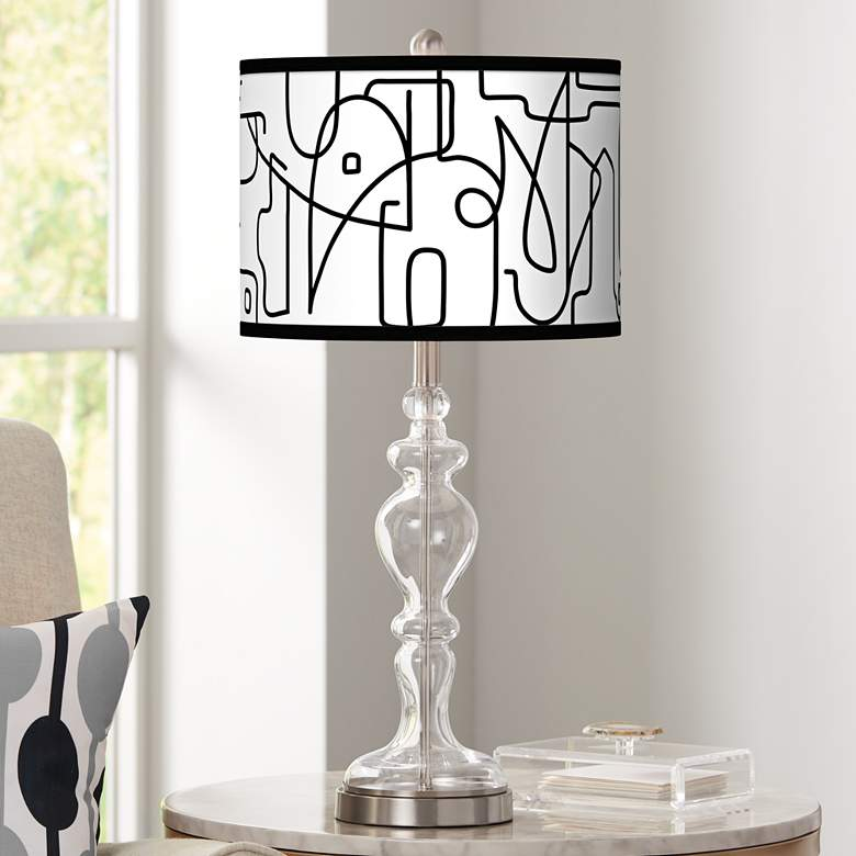 Scribble World Giclee Apothecary Clear Glass Table Lamp