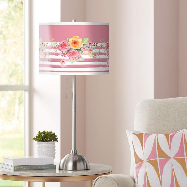 Country Rose Giclee Brushed Nickel Table Lamp