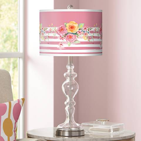 Country Rose Giclee Apothecary Clear Glass Table Lamp