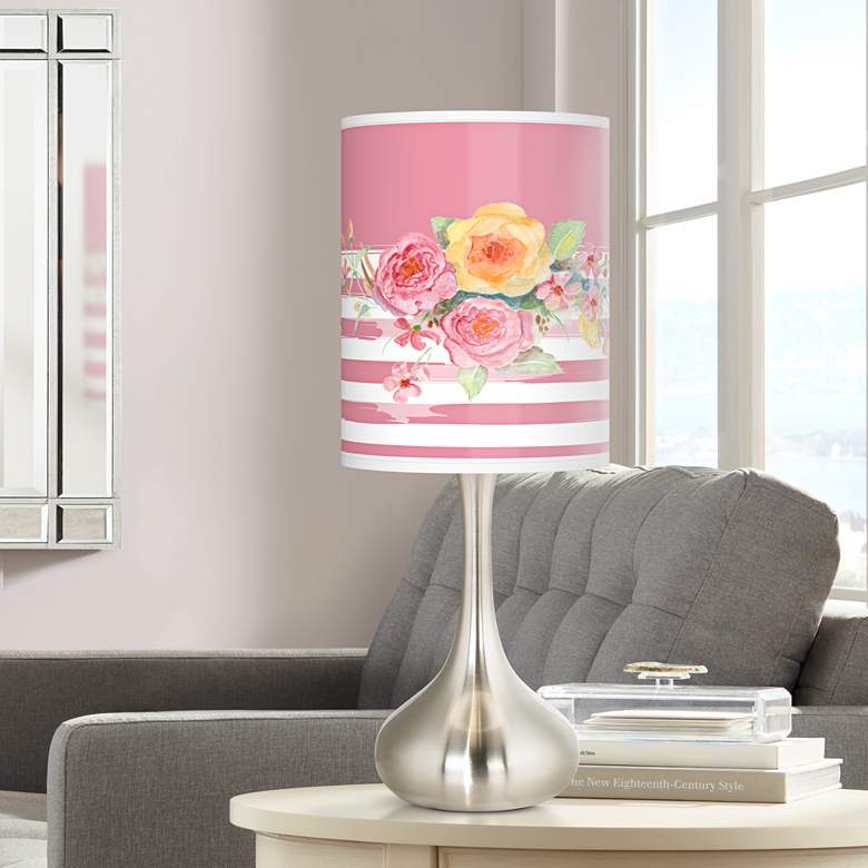 Country Rose Giclee Brushed Nickel Droplet Table Lamp
