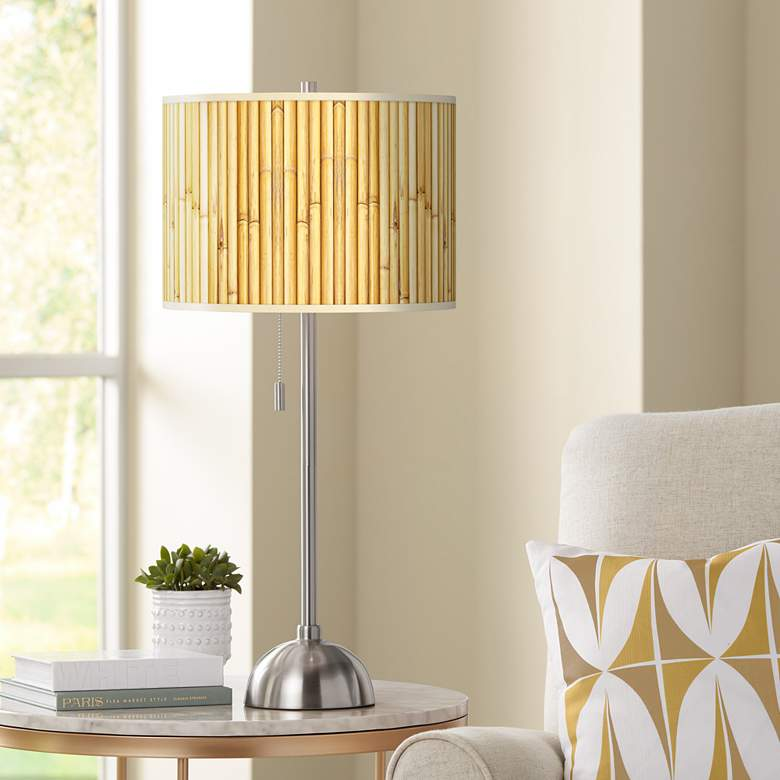 Bamboo Mat Giclee Brushed Nickel Table Lamp