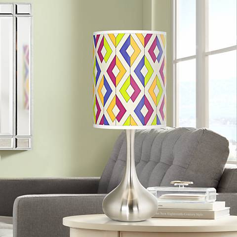 Chromatic Diamonds Giclee Droplet Table Lamp