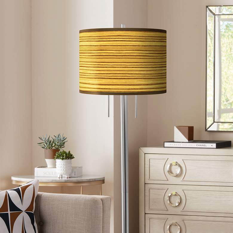 Tawny Zebrawood Giclee Brushed Nickel Garth Floor Lamp