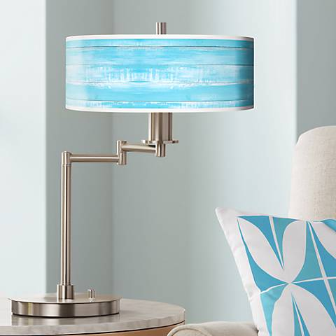 Barnyard Blue Giclee CFL Swing Arm Desk Lamp