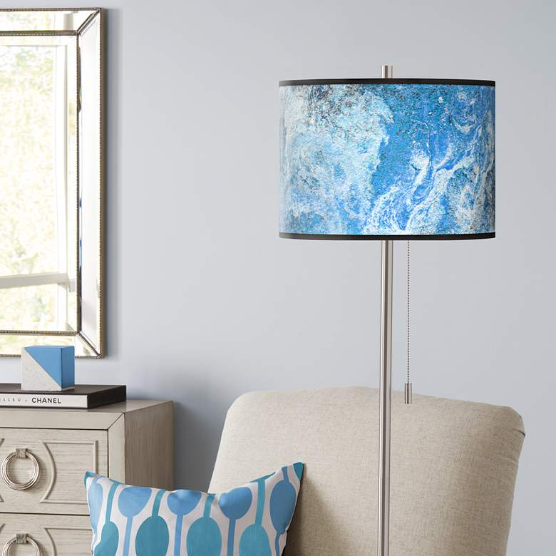 Ultrablue Brushed Nickel Pull Chain Floor Lamp