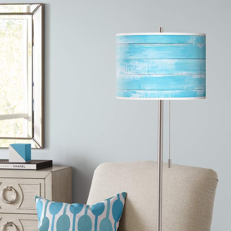 Barnyard Blue Brushed Nickel Pull Chain Floor Lamp