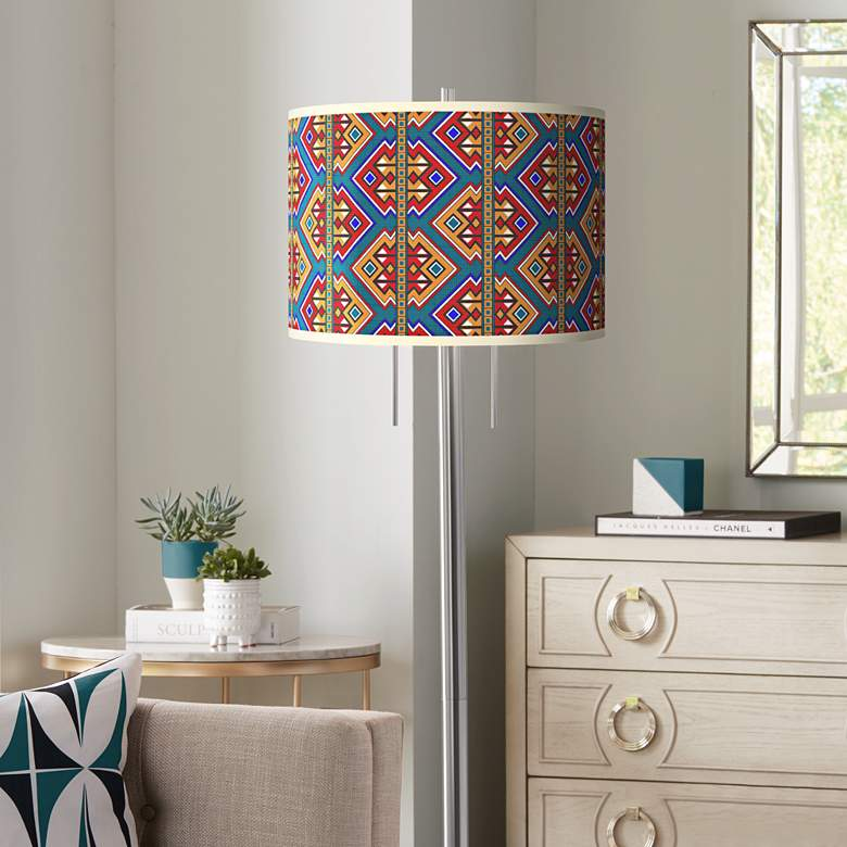 Rich Bohemian Giclee Brushed Nickel Garth Floor Lamp