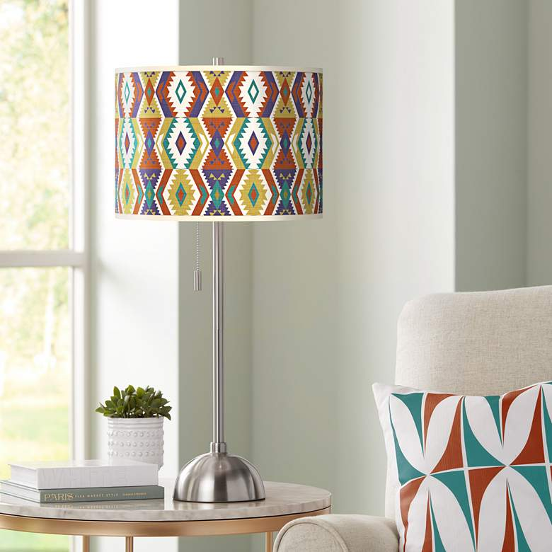Southwest Giclee Brushed Nickel Table Lamp