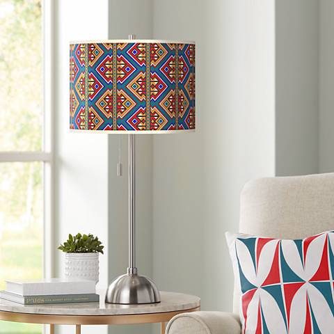 Rich Bohemian Giclee Brushed Steel Table Lamp