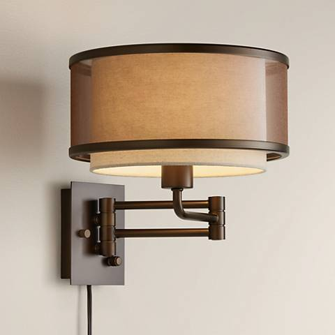 Vista Oil-Rubbed Bronze Plug-In Swing Arm Wall Lamp