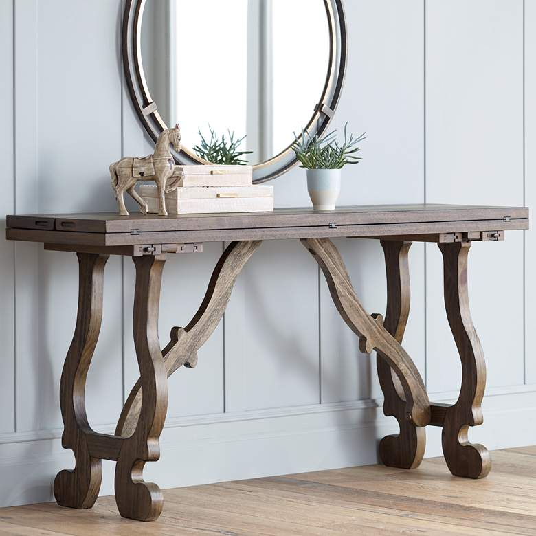 "Orchard 64"" Wide Pine Wood Foldout Console Table"