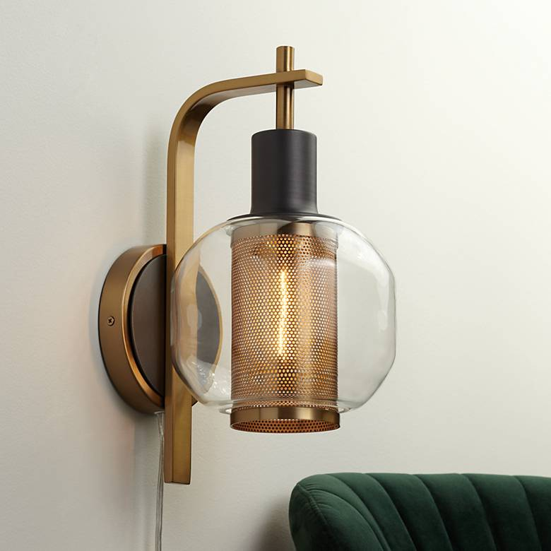 Possini Euro Winslow Gold and Gunmetal Plug-In LED Wall Lamp