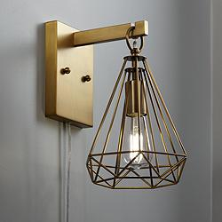 Cecelia Antique Brass Diamond Cage Pin-Up Wall Lamp