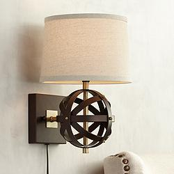 Kent Antique Brass with Bronze Cage Pin-up Wall Lamp