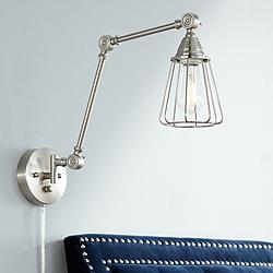 Adelaide Brushed Nickel Cage Joint Swing Arm Wall Lamp