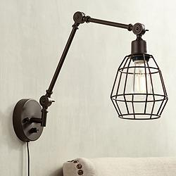 Hammond Bronze Cage Pin-Up Joint Arm Wall Lamp