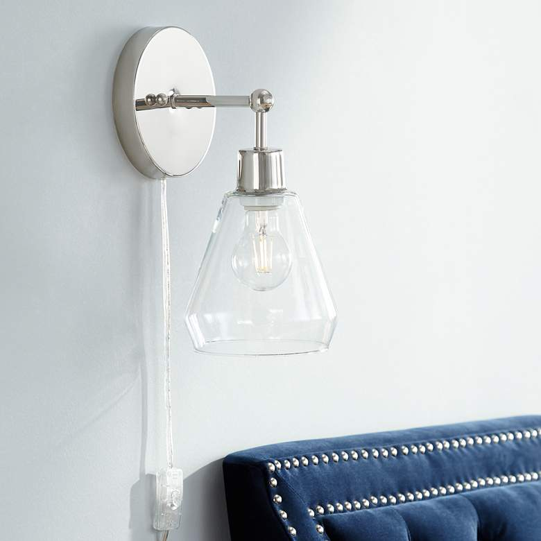 Leila Polished Nickel Glass Cone Shade Pin-Up Wall Lamp