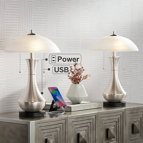 Simon Glass Shade Accent Table Lamp with USB Port Set of 2