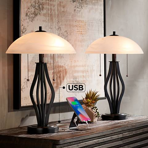 Heather Glass Shade Accent Table Lamp with USB Port Set of 2