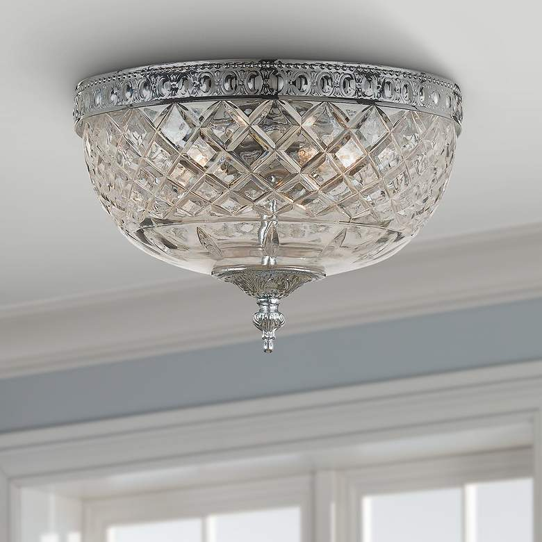 "Crystorama 8"" Wide Polished Chrome Ceiling Light"