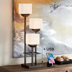Light Tree 3-Light Bronze Console Table Lamp with USB