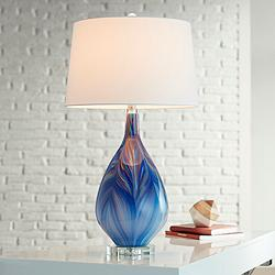 Possini Euro Taylor Blue Art Glass Table Lamp