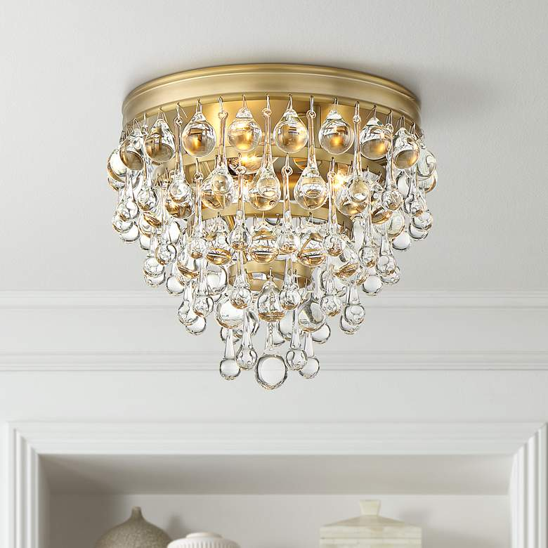 "Crystorama Calypso 10"" Wide Vibrant Gold Ceiling Light"