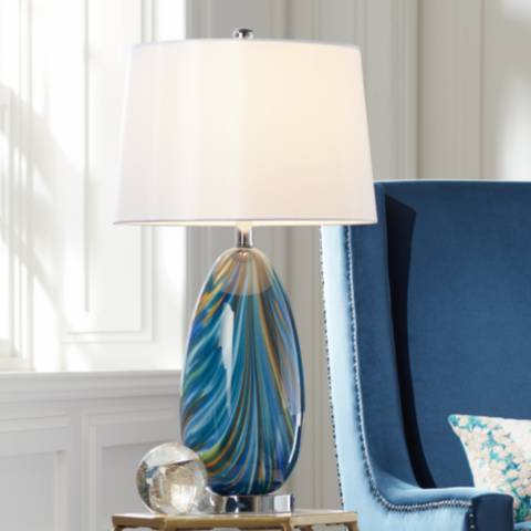 Possini Euro Pablo Blue Art Glass Table Lamp 55m92