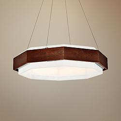"Modern Forms Koolhaus 28"" Wide Dark Walnut LED Pendant Light"
