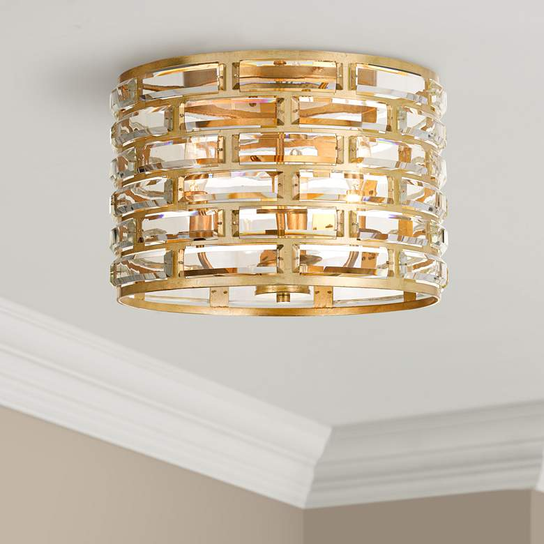 "Meridian 15""W Gold and Crystal Ceiling Light by"