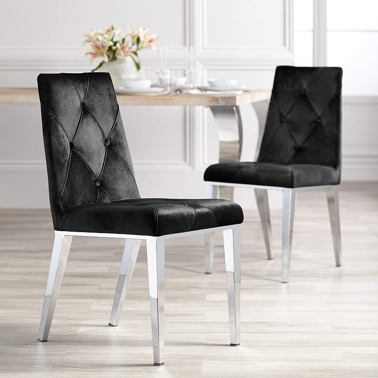 Allison Black Velvet Dining Chairs Set of 2