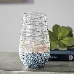 "Kaylin Small Blue and Tan 9 1/4"" High Glass Vase"