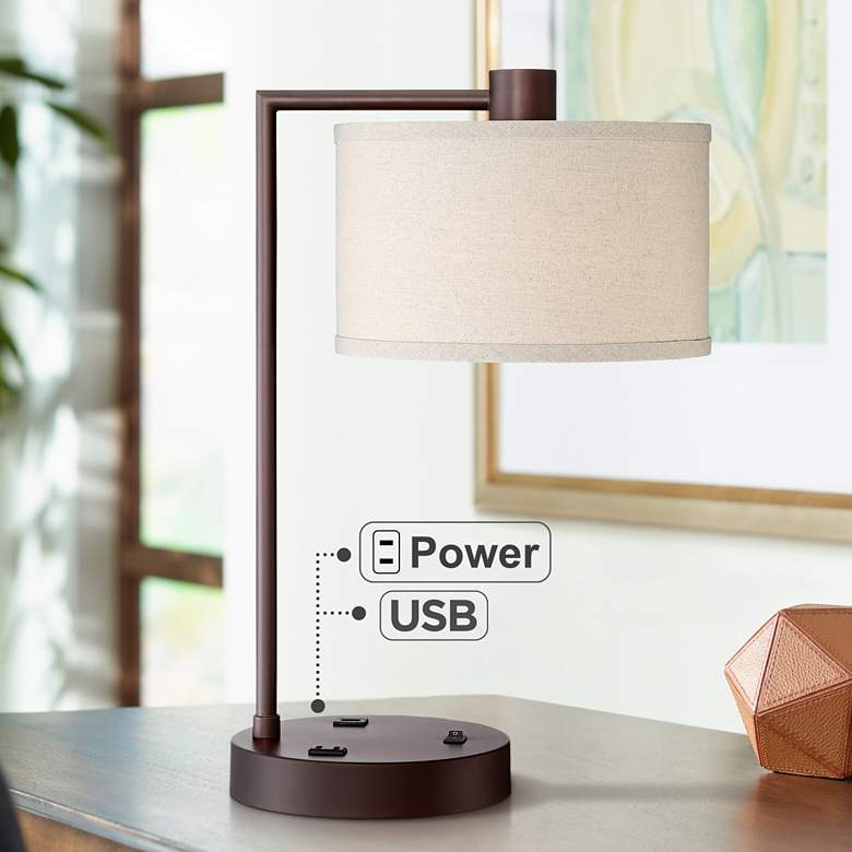 Colby Bronze Finish Desk Lamp with Outlet and