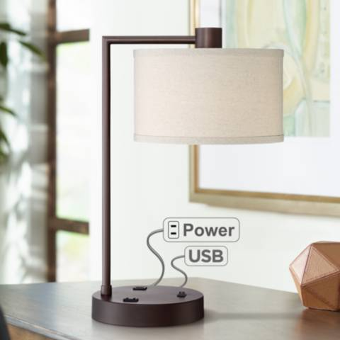 Colby Bronze Finish Desk Lamp With Outlet And Usb Port