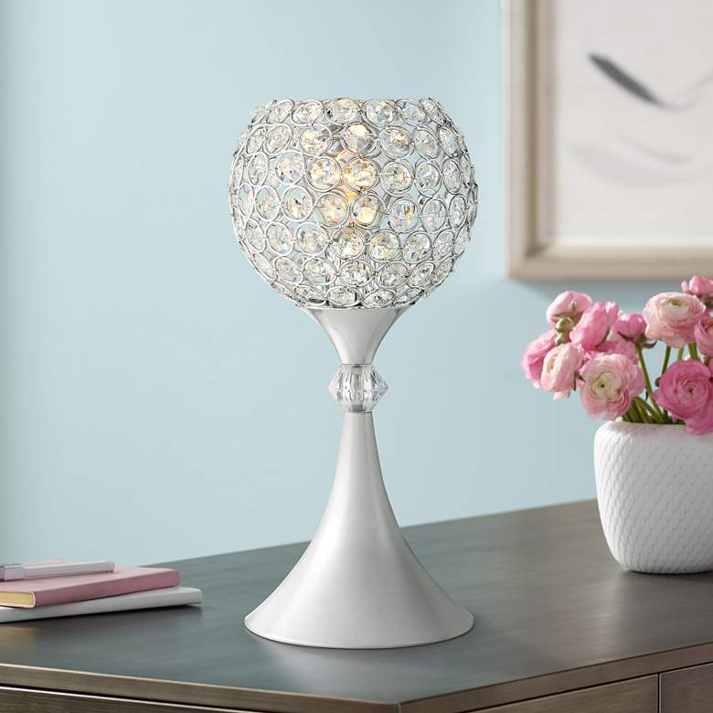 "Janet 13"" High Metal and Glass Accent Table Lamp"