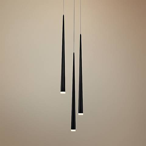 "Cascade 12""W Black w/ Frosted Glass LED Multi Light Pendant"